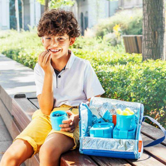 niebieska torba na lunch dla dzieci bill w zestawie