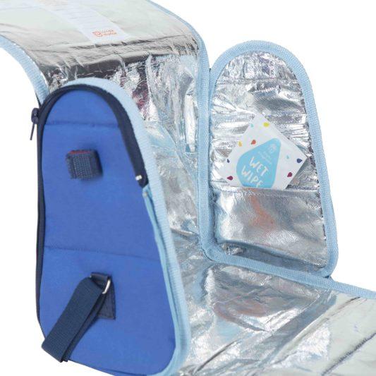 niebieska torba na lunch dla dzieci wnetrze