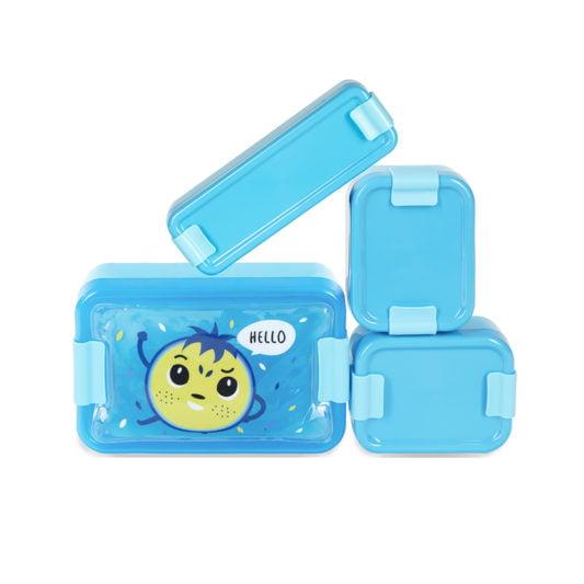 niebieskie pojemniki na jedzenie HELLO BILL lunchbox pojemniki