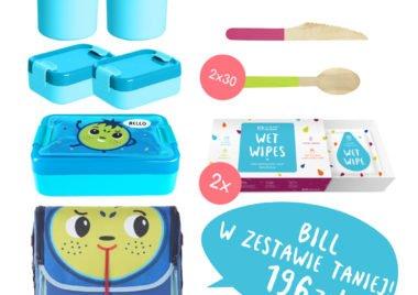 niebieski zestaw na lunch dla dzieci