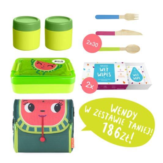 zielony zestaw na lunch dla dzieci
