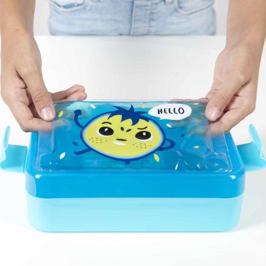 zestaw lunch box niebieski Bill z zelem