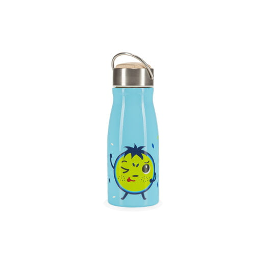 Niebieski bidon termiczny dla dzieci HELLO BILL! z przodu